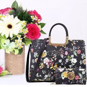 NeatandNiceShop Bags - NEW - Black Floral Boho Bag w/ Wallet Purse Set